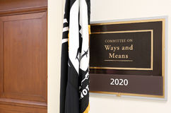 House Committee on Ways and Means. Washington, DC, USA - July 18, 2017: A sign at the entrance to a House Ways and Means Committee hearing room. The United stock photo