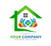 House community model abstract, family together real estate logo vector. vector illustration