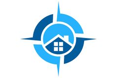 House compass logo dsign. Vector concept Royalty Free Stock Images