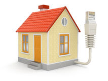House and Computer Cable (clipping path included) Royalty Free Stock Photo