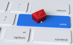 House on computer keyboard sale key. 3D illustrated red toy house on computer keyboard with blue key labelled sale Royalty Free Stock Photo