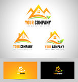 House Concept Real Estate Logo. Abstract logo with orange house and leafs Stock Photography