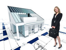 House concept and woman Royalty Free Stock Images
