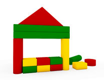 House constructed of colourful building blocks Stock Images