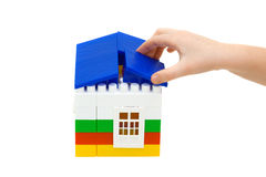House constructed from toy blocks Royalty Free Stock Photos