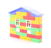 House constructed from toy bricks isolated Royalty Free Stock Photo