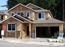 House in construction. A new house in construction in north america Stock Photography