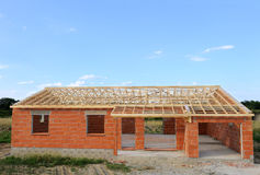 House construction. House under construction in French Royalty Free Stock Photography