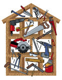 House Construction. Household tools in wood frame house. Tools are grouped individually. House frame is on a separate layer Stock Photos
