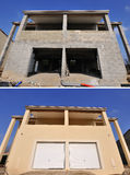 House-construction. House under construction before and after Royalty Free Stock Photos
