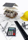 House Construction. Concept of designing, calculating budget and building a house project Royalty Free Stock Photos