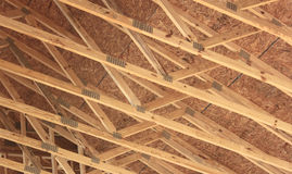 House Construction. With Trusses in closeup Stock Images