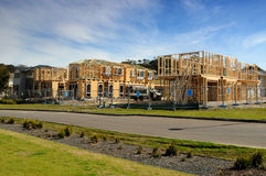House construction. Suburban residential houses during construction Royalty Free Stock Photography