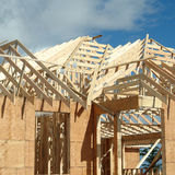 House Construction. Showing a close up of new roof trusses Stock Photos