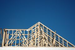 House Construction 3. Construction of a house using lumber and trusses stock image