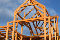 House Construction. The top part of a house under construction in nice light Stock Photography