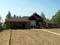 House construction. New house under construction in the suburbs Stock Image