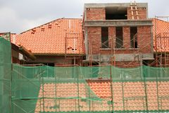 House construction. Construction on residential houses royalty free stock photos