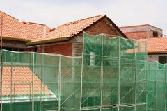 House construction. Construction on residential houses Stock Photos