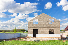 House construction from blocks and bricks Royalty Free Stock Photography