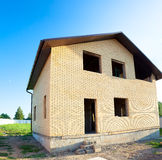 House construction from blocks and bricks Stock Image