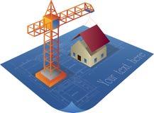 House construction. On a blueprint logo