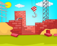 House Construction. Cartoon Background. Vector Illustration EPS 10 Royalty Free Stock Photo