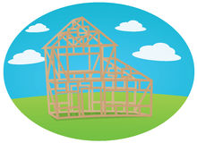 House construction. On cloudy background Royalty Free Stock Photos