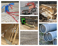 House Construction Collage. Constructions site of a new residential building Stock Images