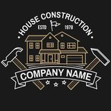 House construction company identity with suburban american house. Vector illustration. Thin line badge, sign for real. House construction company identity with royalty free illustration