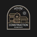 House construction company identity with suburban american house. Vector illustration. Thin line badge, sign for real. House construction company identity with stock illustration