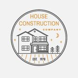 House construction company identity with suburban american house. Vector illustration. Thin line badge, sign for real. House construction company identity with vector illustration
