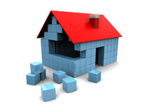 House construction concept. Abstract 3d illustration of house assembling with blocks Royalty Free Stock Photography