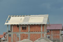 House in construction. Detail of house in construction Stock Photography