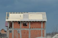 House in construction. Detail of house in construction Stock Image