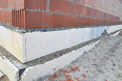 House construction external rigid styrofoam board insulation outdoor for energy saving. Rigid Foam Insulation Royalty Free Stock Images
