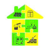 House construction in the form of puzzles Stock Images