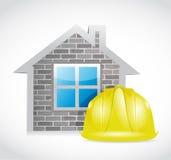 House and construction helmet Stock Photos