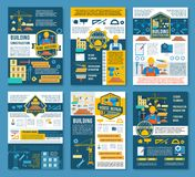 House construction and home repair banner temlate. House construction, home repair and renovation planning banner. Construction site with equipment, builder work Royalty Free Stock Images