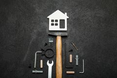 House construction, home tools concept royalty free stock image