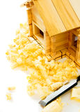 House construction. Joiner's works. The wooden Royalty Free Stock Photo