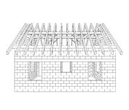 House construction line drawing vector Royalty Free Stock Photo
