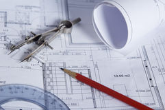 The house construction plan. The closed composition stock images