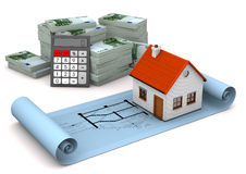 House Construction Plan Euro Notes Calculator. House with construction plan, calculator and euro notes on the white. 3d illustration Stock Image