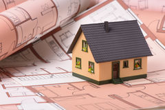 House on construction plan Royalty Free Stock Photography