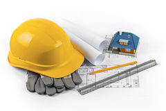 House construction project - tools and equipment on blueprints Stock Photo