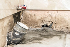 House construction and renovating, pipes and plumbing tools. Bat royalty free stock image