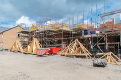 House construction roof trusses Stock Photo