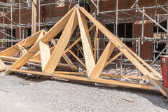 House construction roof trusses Royalty Free Stock Photo