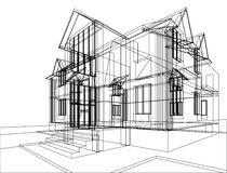 House construction sketch. Abstract sketch of house. Illustration of 3d construction Royalty Free Stock Image
